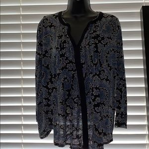 Lucky brand paisley long sleeve blouse L